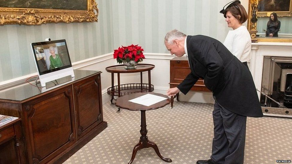 The incoming Belgian ambassador to to the UK presents his credentials to The Queen