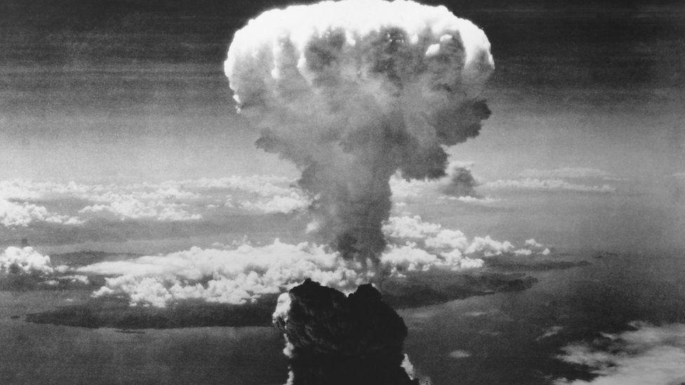 A-Bomb mushroom cloud over Nagasaki