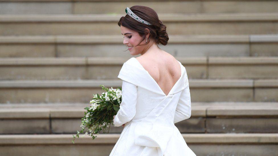"Princess Eugenie of York arrives for her royal wedding ceremony to Jack Brooksbank at St George""s Chapel at Windsor Castle"
