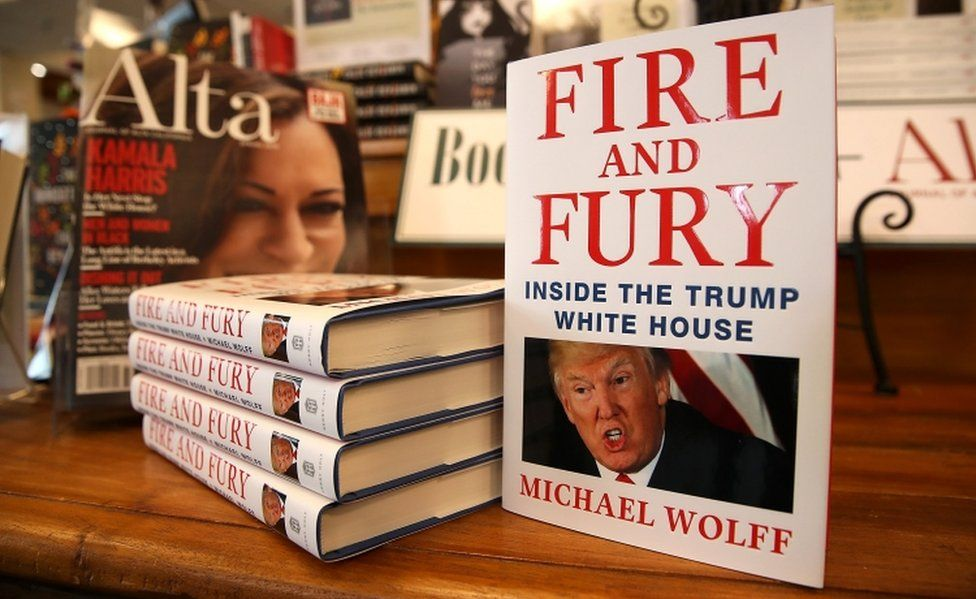 """Copies of the book """"Fire and Fury"""" by author Michael Wolff on display in a book shop"""