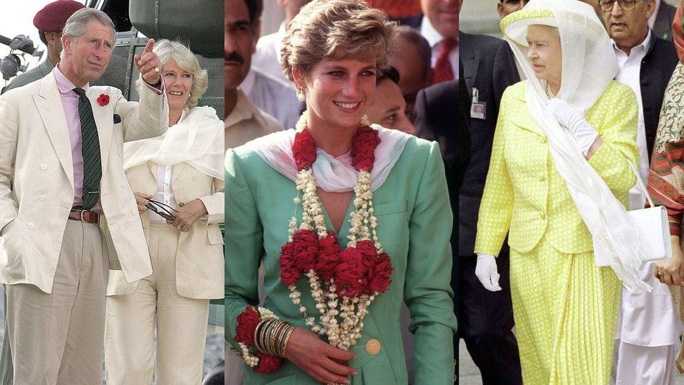 Queen Elizabeth, Prince Charles, Princess Diana  British royal family have arrived in Pakistan