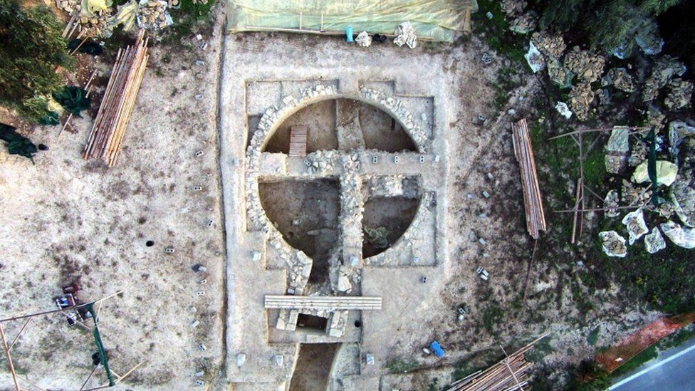 An aerial view of the beehive tombs discovered near the Palace of Nestor at Pylos in south-western Greece