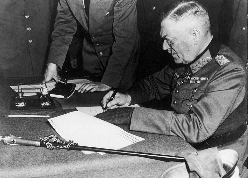 Keitel signing surrender, 8 May 45