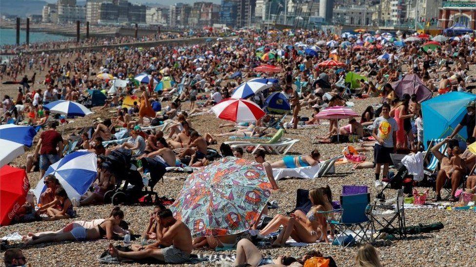 Crowds on Brighton beach on Friday 31 July 2020