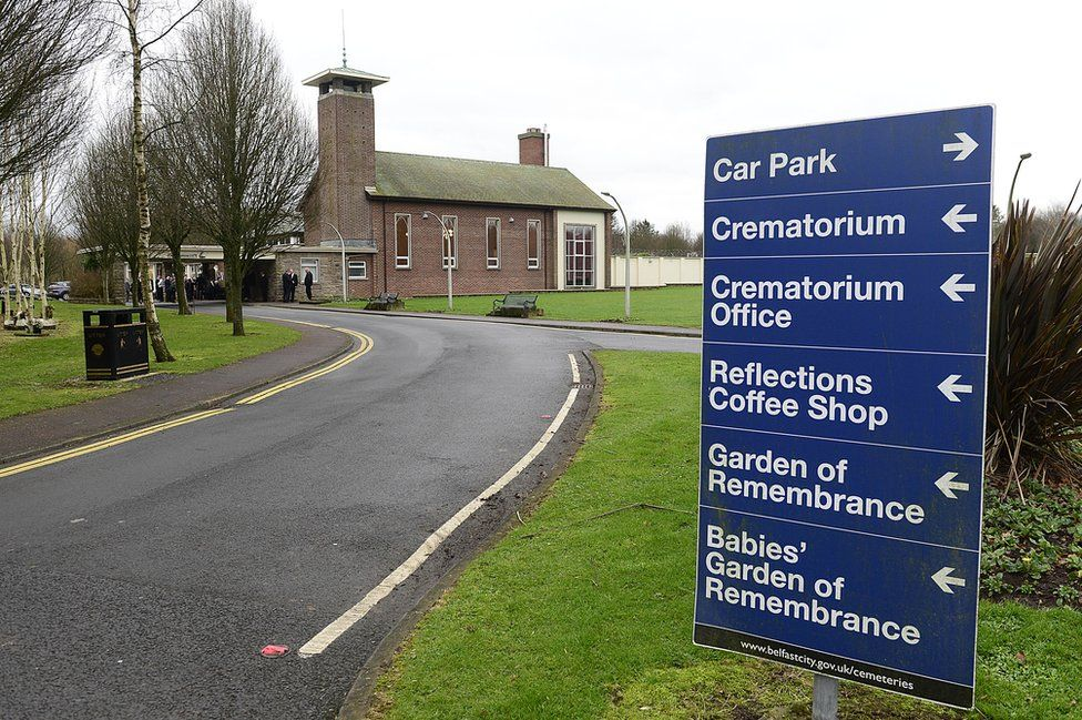 A sign inside the grounds of Roselawn Cemetery and Crematorium