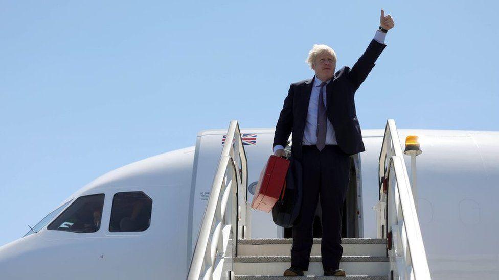 Boris Johnson arrives in Cornwall