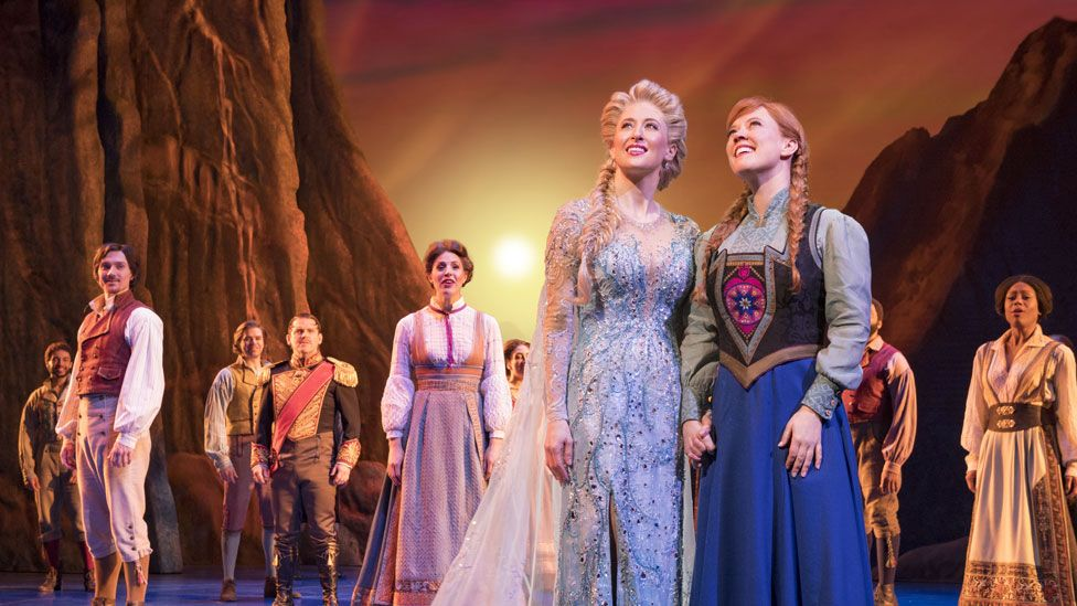 Caissie Levy, Patti Murin with the company of Frozen