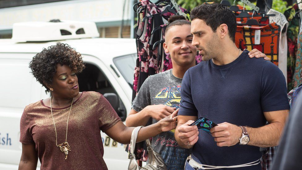 Tameka Empson with Shaheen Jafargholi as Shakil and Davood in EastEnders
