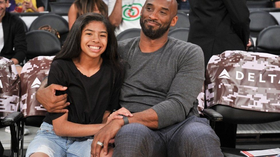 Kobe Bryant and his daughter Gianna Bryant attend a basketball game between the Los Angeles Lakers and the Atlanta Hawks at Staples Center