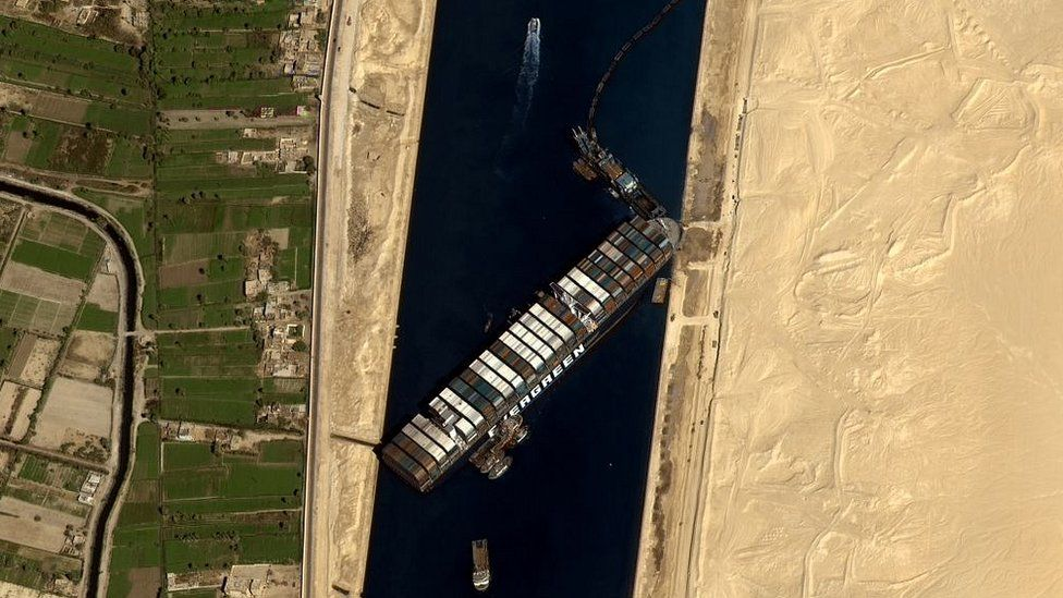 Satellite image shows the stuck container ship 'Ever Given' on the Suez Canal, in Egypt, on March 27, 2021