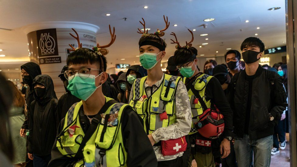 Volunteer medics are seen during a demonstration inside a shopping mall on December 24, 2019 in Hong Kong, China