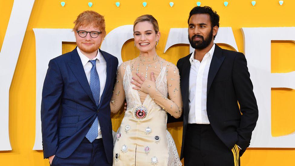Ed Sheeran, Lily James and Himesh Patel