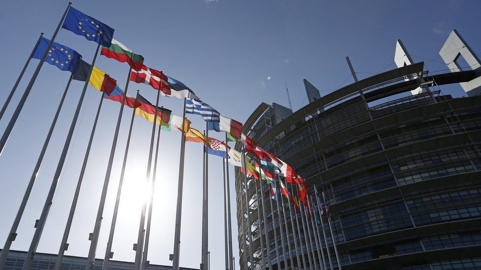 Flags of European Union member states in front of the European Parliament building, Strasbourg