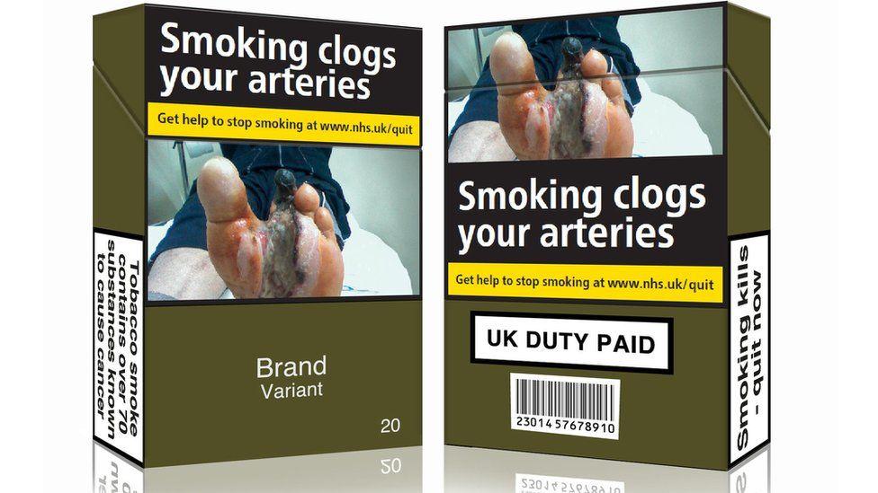 Mocked up cigarette packs