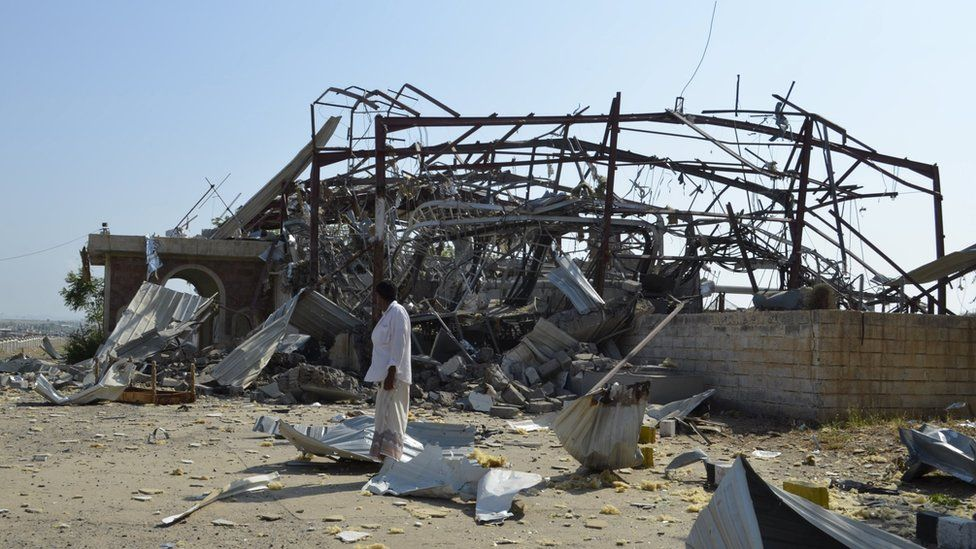 A state broadcasting centre after Saudi-led air strikes destroyed