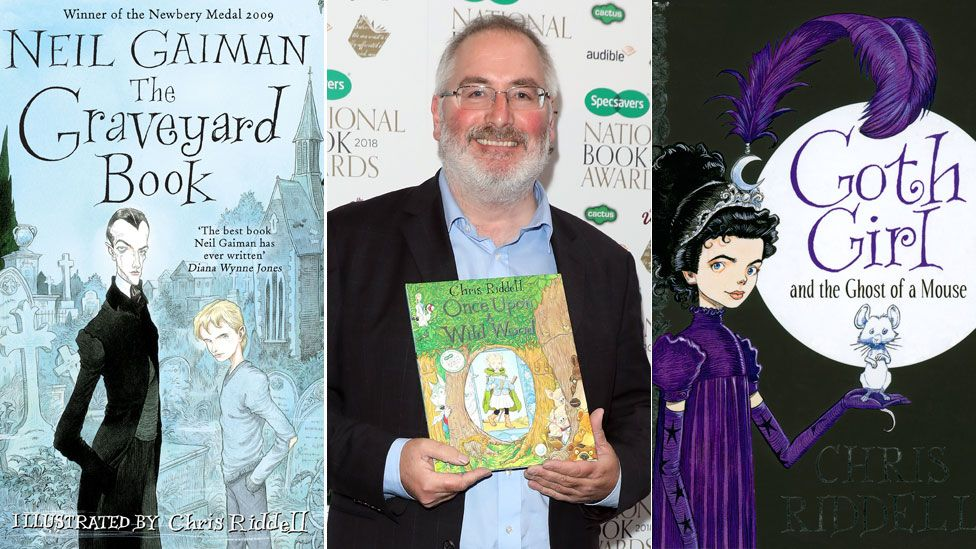 Chris Riddell between the book jackets for Neil Gaiman's The Graveyard Book and his own Goth Girl and the Ghost of a Mouse