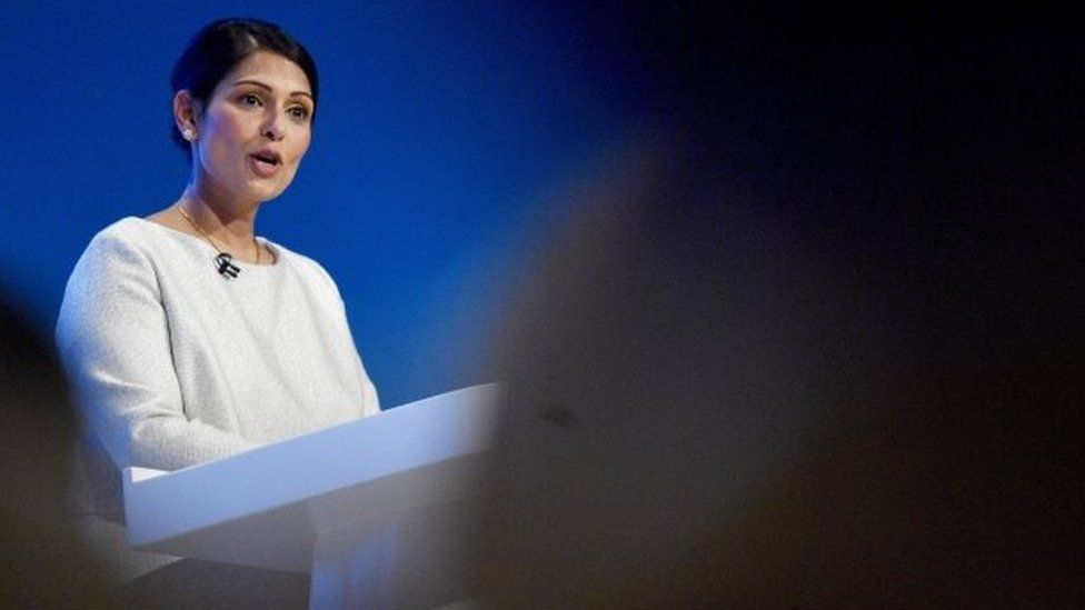Priti Patel speaking at the Conservative Party autumn conference in Manchester