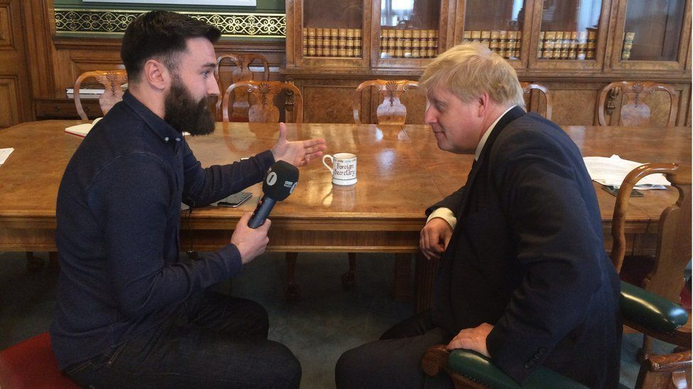 Boris Johnson and Newsbeat reporter Jim Connolly