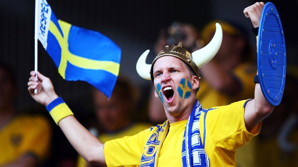 A Swedish football fan watches the national team play Russia