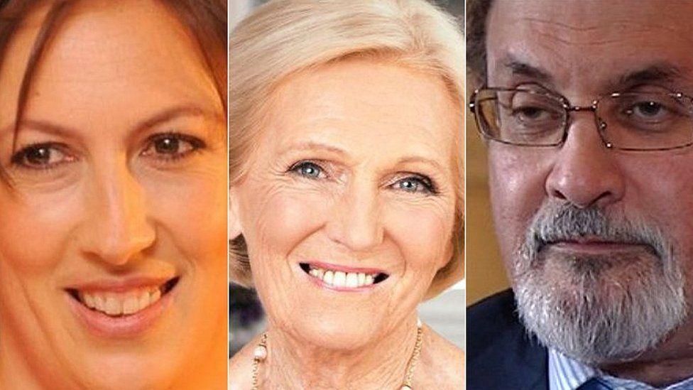 Miranda hart, Mary Berry and Salman Rushdie