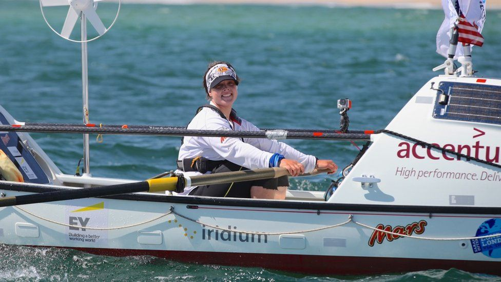 Sarah Outen on board her boat Happy Socks in Cape Cod