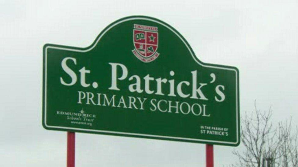 The sign outside St Patrick's School on Pim Street, North Belfast.