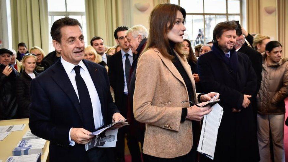 Nicolas Sarkozy and his wife Carla Bruni-Sarkozy vote in Paris. Photo: 13 December 2015
