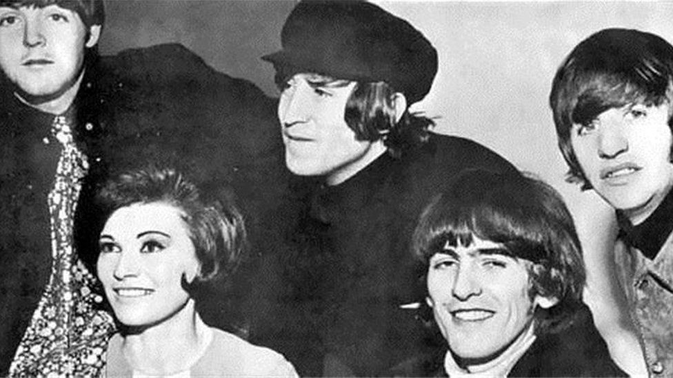 DJ Cathy Spence with the Beatles