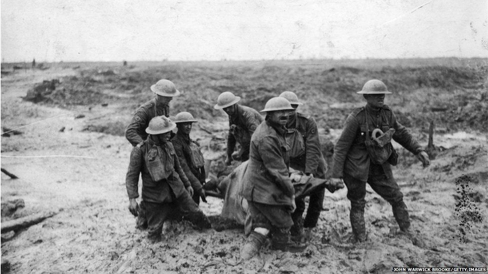 Stretcher bearers at the Battle of Passchendaele