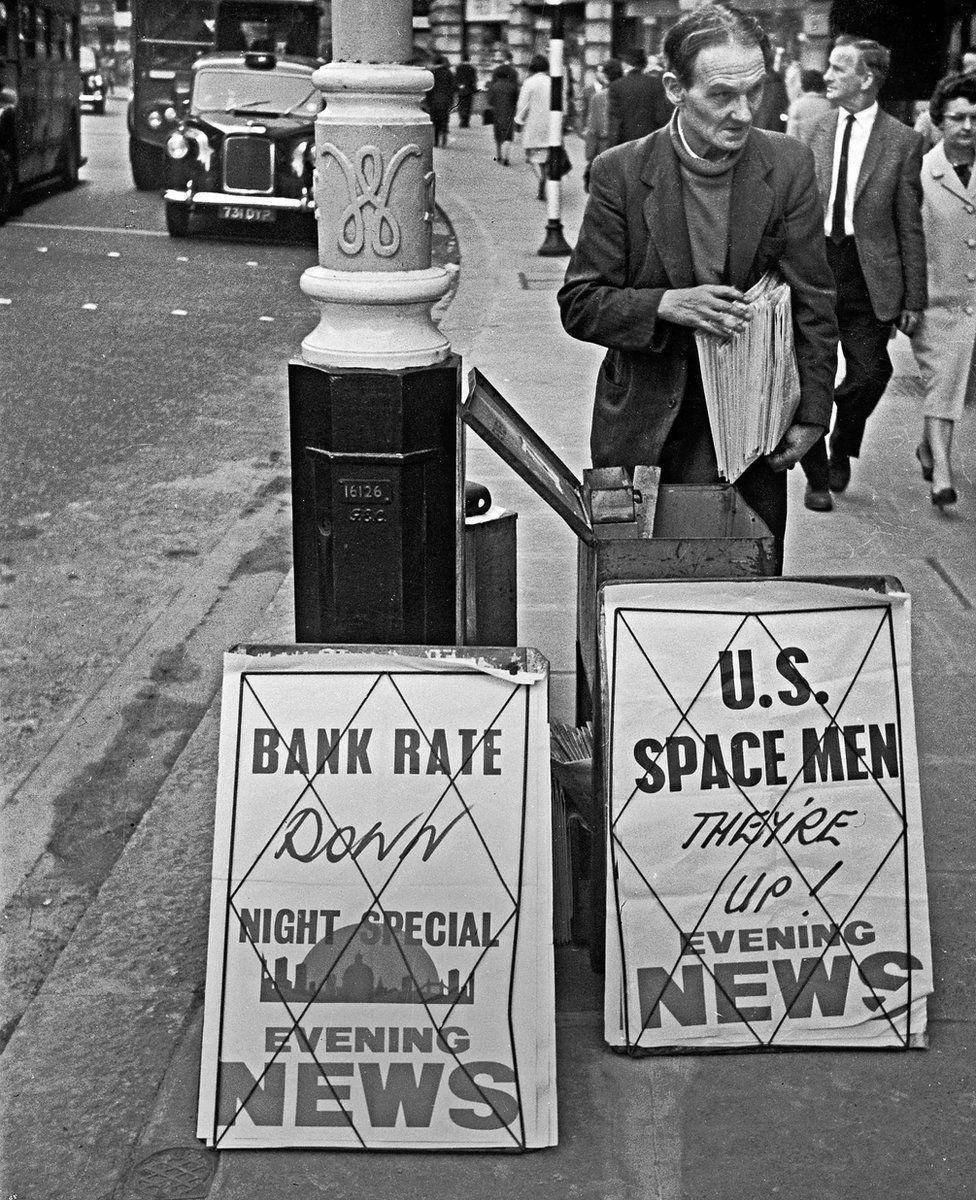 Newspaper seller on Regent Street, London, 1965