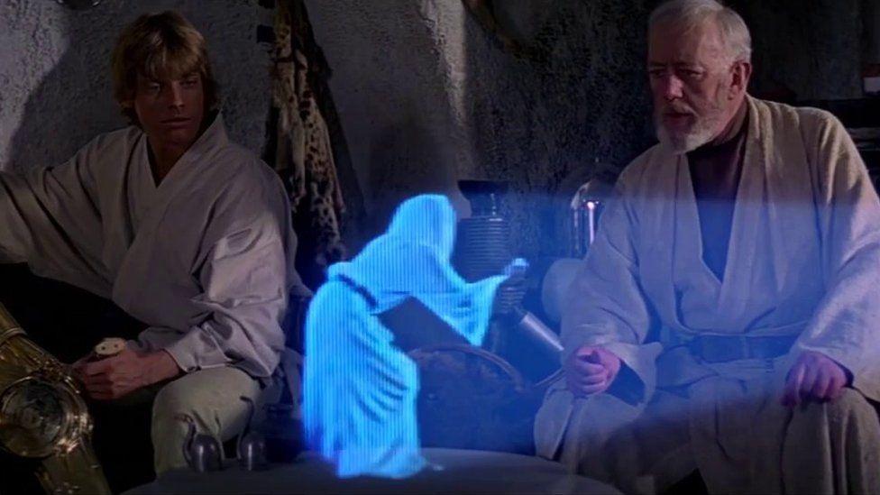Hologram of Princess Leia in Star Wars Episode IV