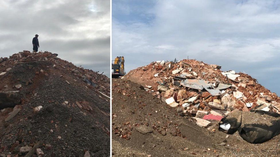 Rubble from the Orfordness Lighthouse demolition