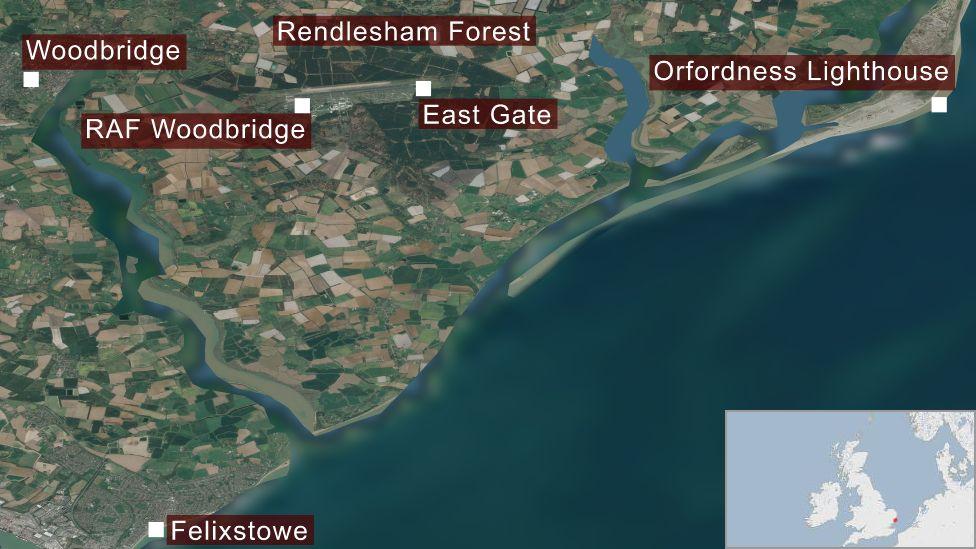 Rendlesham UFO incident map