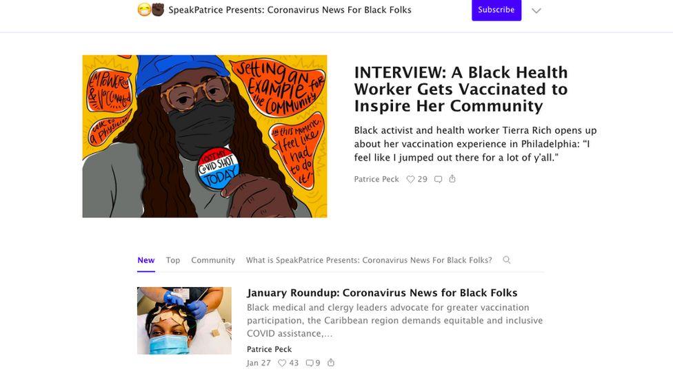 Substack account called Coronavirus News for Black Folks