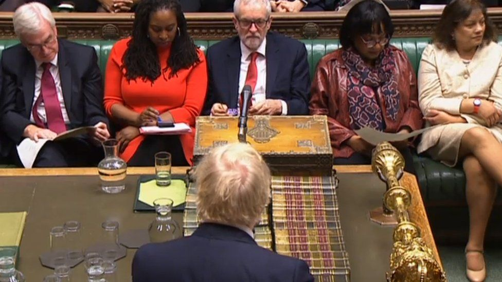 View of the House of Commons from behind Boris Johnson's head to Labour's front bench