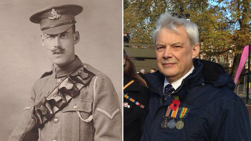 Robert Malin, whose job it was to carry away the wounded on stretchers, and his grandson Jeremy Cripps wearing his medal at the procession
