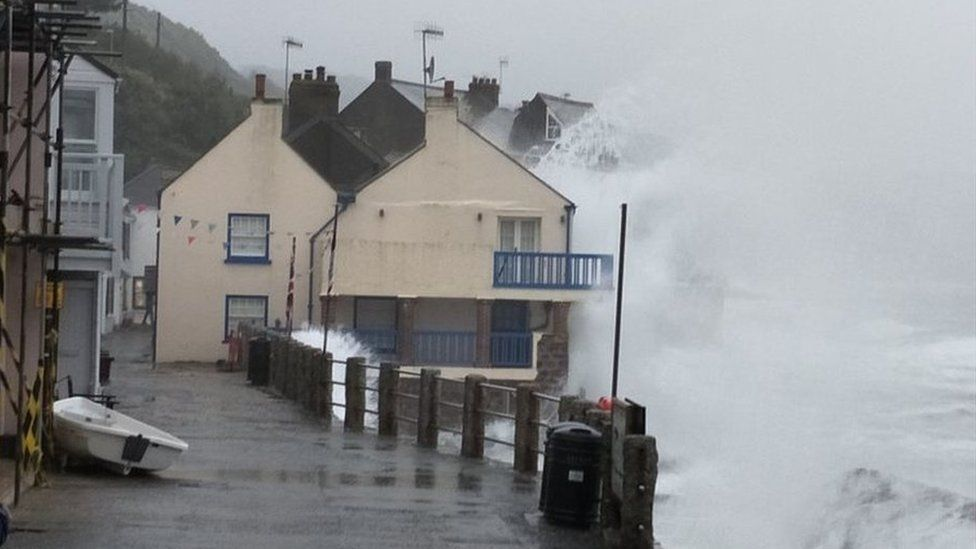 Waves batter Cawsand in Cornwall