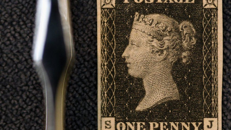 An 1840 Penny Black stamp sold by Sotheby's auction house