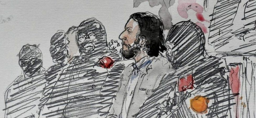 A courtroom sketch showing Salah Abdeslam prior to the opening of his trial