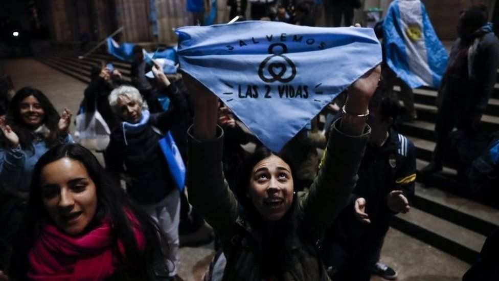 People against the legalization abortion demonstrate in front of the University of Buenos Aires's Faculty of Law in Buenos Aires, Argentina, 06 August 2018