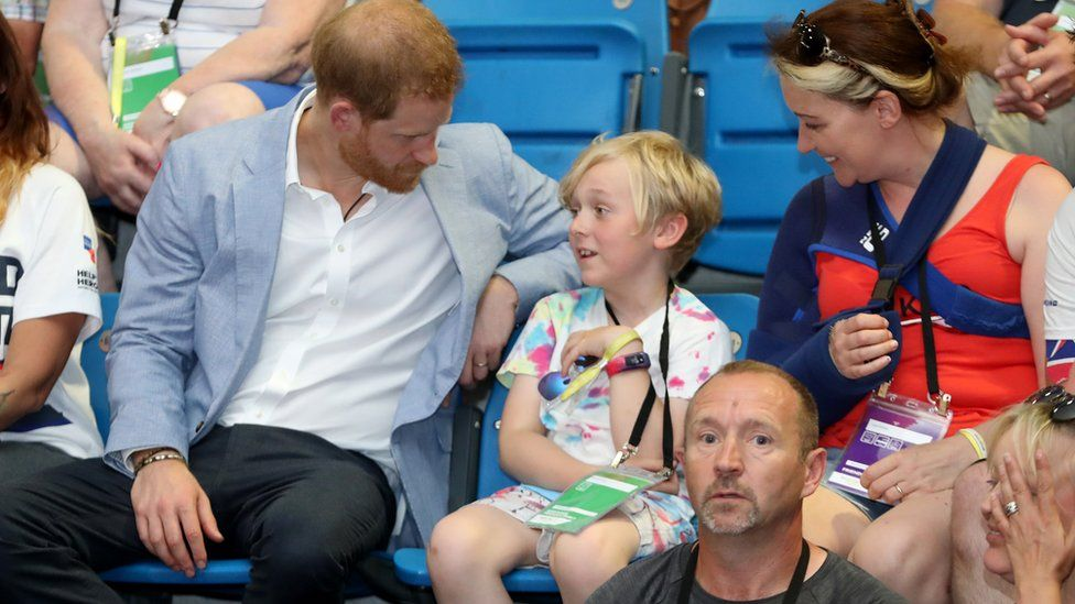 Prince Harry, Duke of Sussex watches Powerlifting competitors during his visit to the Invictus UK Trials at the English Institute of Sport Sheffield