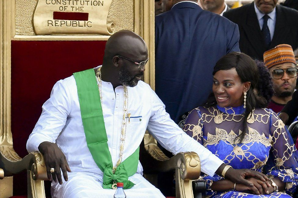 George Weah (L) and his wife Clar Weah attend his presidential swearing-in ceremony in Monrovia, Liberia - 22 January 2018
