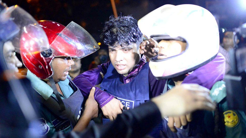 Injured policeman in Dhaka. 1 July 2016