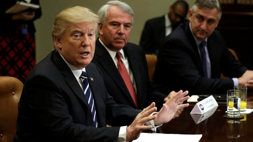 President Donald Trump meets with pharmaceutical executives