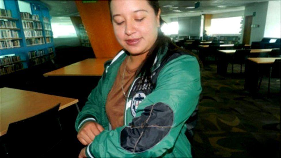 Anaid Parra Quiroz models the coat
