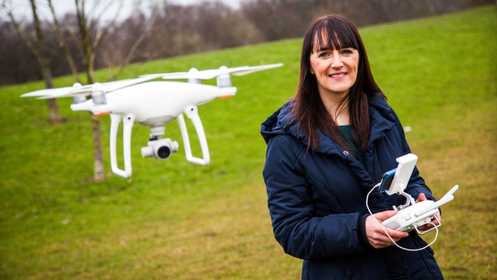 Carys Kaiser operating a drone