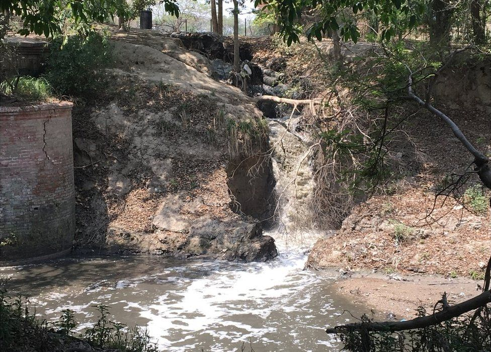 A huge breach in the sewage pipeline means untreated effluents are flowing into the river