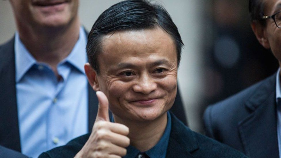 Jack Ma giving a thumbs up