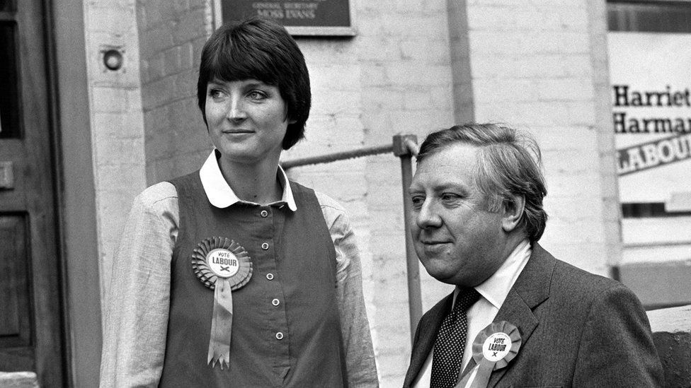 Harriet Harman on the campaign trail in 1982 with then-shadow home secretary Roy Hattersley
