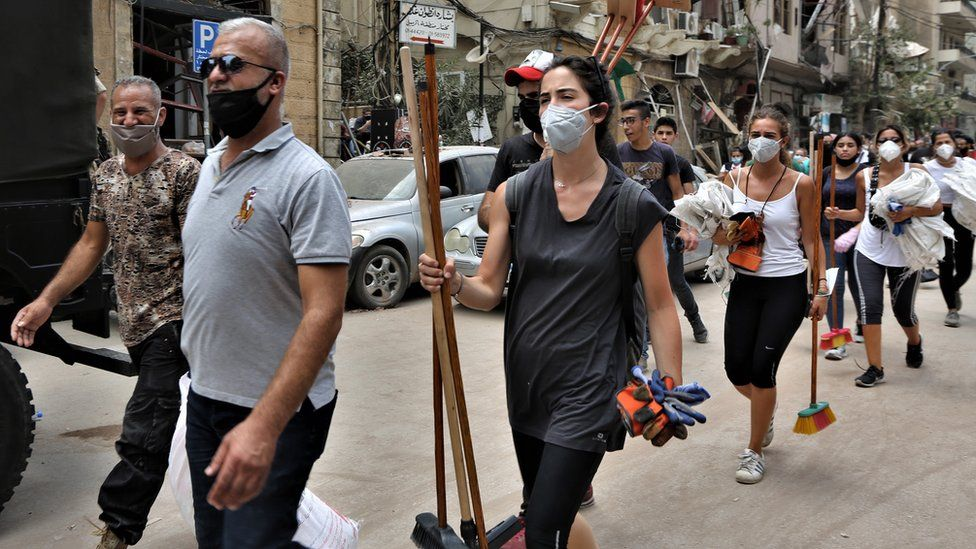 Volunteers cleaning the streets of Beirut
